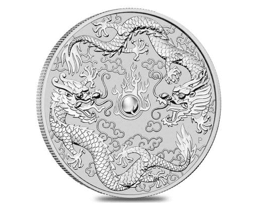 A 2019 Double Dragon Perth Mint Silver coin