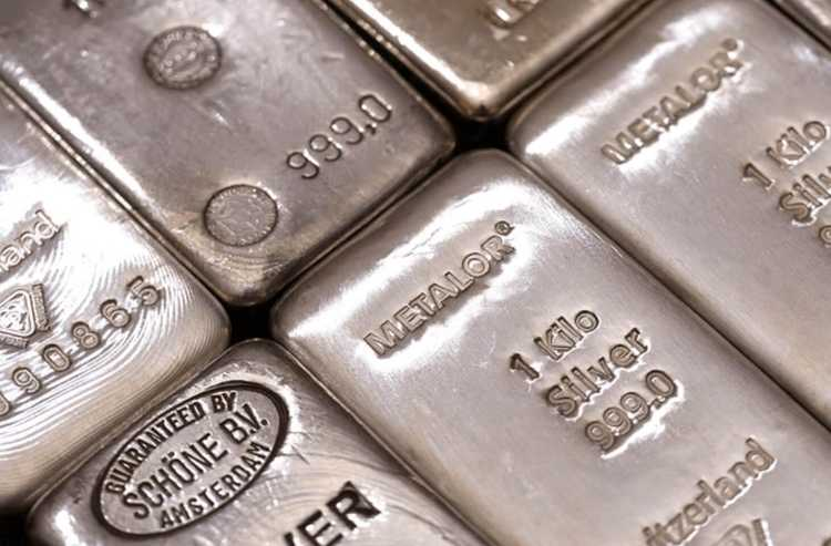 An image of several bars of pure silver.