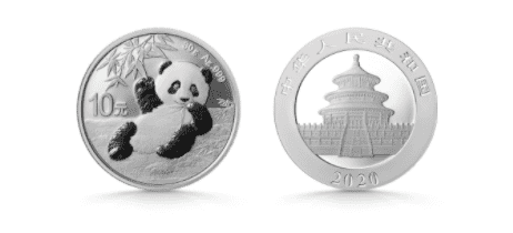 An image of a 2020 Chinese Panda silver coin.