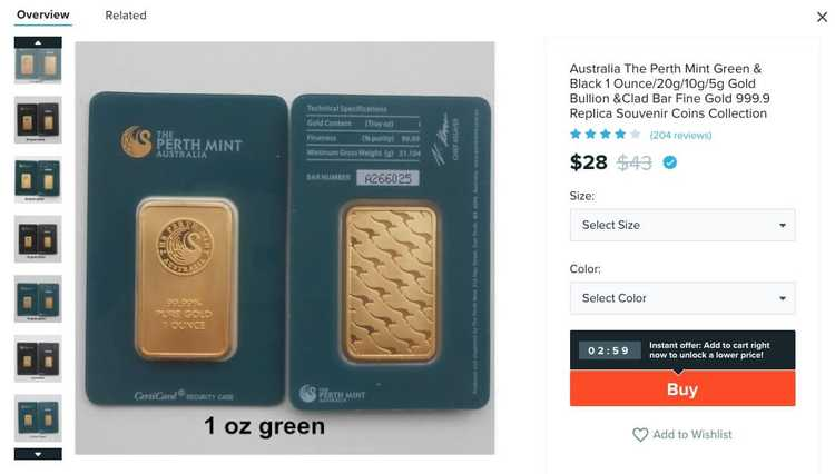 An image of a counterfeit Perth Mint bar from a chinese website.