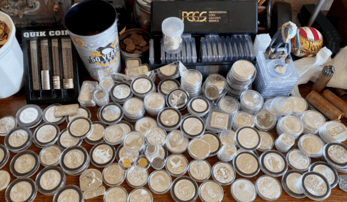 A huge collection of silver coins