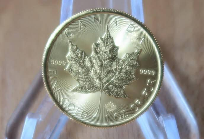 An Image of a 2020 Gold Maple Leaf coin from the Royal Canadian Mint.