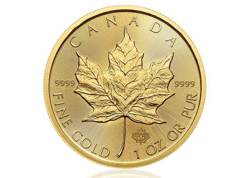 A one ounce gold maple leaf from the Royal Canadian Maple Leaf
